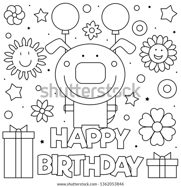 Happy Birthday Coloring Page Vector Illustration Stock Vector Royalty Free 1362053846
