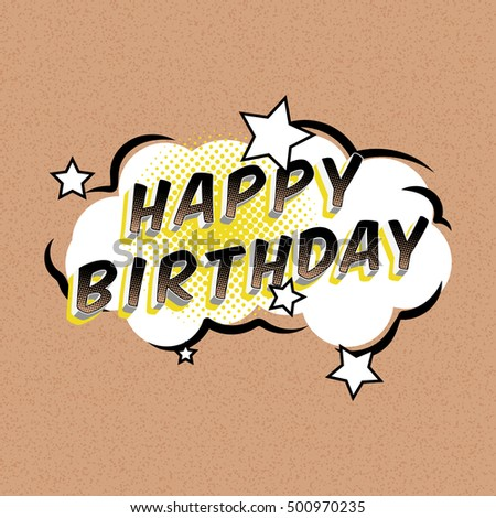 Happy Birthday Comic Bubbles Greeting Cards Stock Vector Royalty