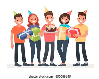 Happy Birthday. The company of young people celebrates the holiday with a cake and gifts. Congratulations to a friend. Vector illustration in a flat style