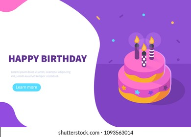 Happy birthday concept banner with text place. Flat isometric vector illustration isolated on white background.