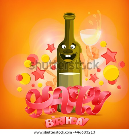 Happy Birthday Concept Card With Wine Bottle Character Vector Illustration