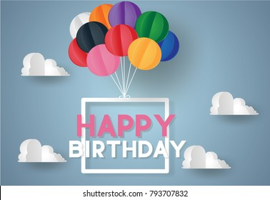 Happy Birthday concept.Signboard hang on sky with balloon colorful.Vector illustration.Paper and craft art
