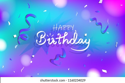 Happy birthday and congratulation card concept, Celebration party calligraphy abstract background decoration paper confetti, greeting invitation poster concept vector illustration