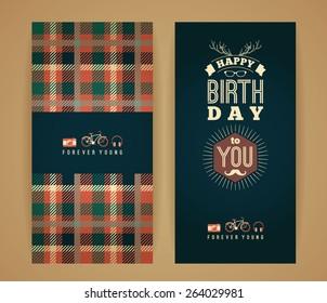 Happy birthday congratulation, vintage retro background with tartan pattern. Hipster style. Vector illustration.