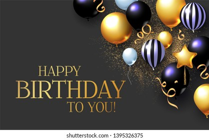 Happy Birthday Congratulations Card Template with Realistic 3D Foil Balloons.