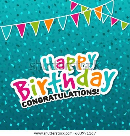 Happy Birthday Congratulations Greeting Card Eps10 Vector Illustration