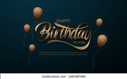 Happy birthday with crystallize of balloon and lettering background