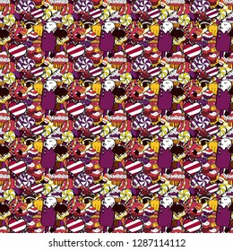 Happy birthday cupcake background in white, purple and black. Muffin. Cupcake pattern background. Seamless.Cupcake vector pattern. Vector illustration.