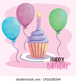 happy birthday cupcake with balloons helium acuarela style vector illustration design