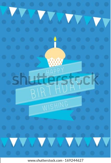 Happy Birthday Cupcake Poster Template Vectorillustration