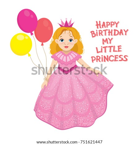 Happy Birthday Cute Fairy Girl Greeting Stock Vector Royalty Free