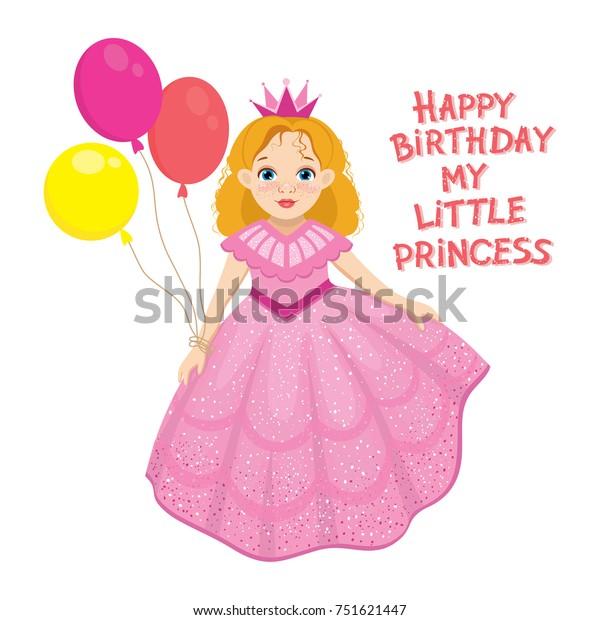 Happy Birthday Cute Fairy Girl Greeting Stock Vector