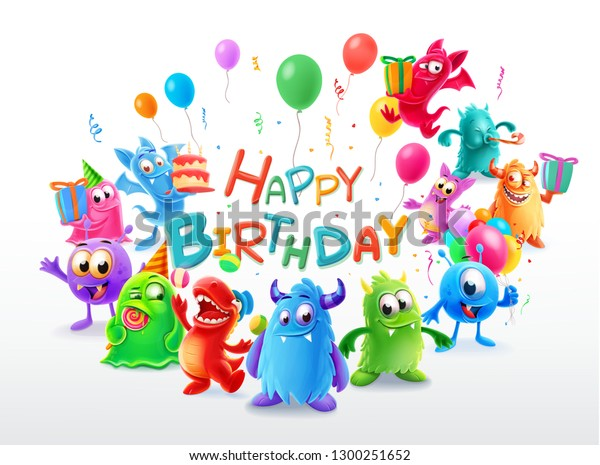 Happy Birthday Cute Monster Stock Vector Royalty Free