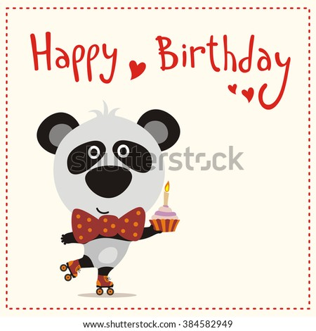 Happy Birthday Cute Panda Bear On Stock Vektorgrafik Lizenzfrei