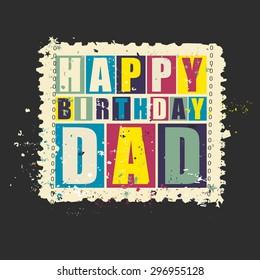 Happy Birthday Dad On Retro Grunge Postage Stamp Vector Illustration Gift Card