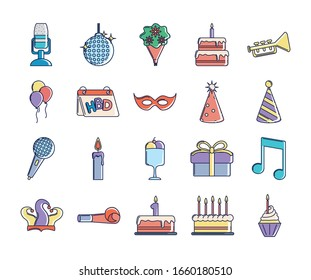 happy birthday, decoration event festive celebration party icon set vector illustration line and fill style