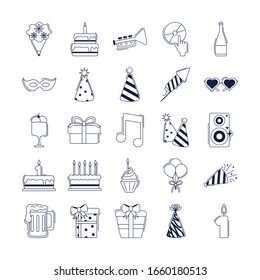 happy birthday, decoration event festive celebration party icon set vector illustration line style