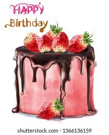 Happy birthday delicious strawberry cake Vector watercolor. Card decor