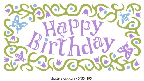 Happy birthday design with bees and butterflies in blue and purple