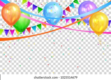 Happy Birthday design. Border of realistic color balloons and flags garlands isolated on transparent background. Party decoration frame for birthday, anniversary, celebration. Vector illustration, eps