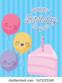 Happy birthday design with cute cartoon balloons and piece of cake with candle over blue background, vector illustration