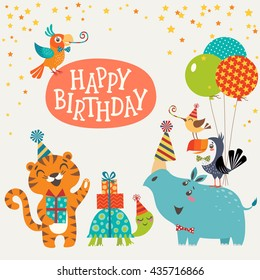 Happy birthday design with cute jungle animals.