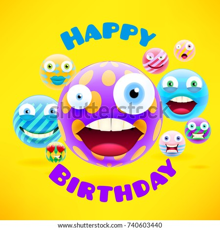 Happy Birthday Design With Emojis And Smileys For Message Text Party Celebration