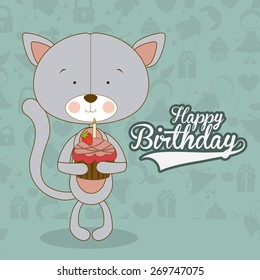 Happy birthday design over blue  background, vector illustration