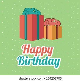 Happy birthday design over green background, vector illustration