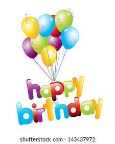 happy birthday design over white background vector illustration