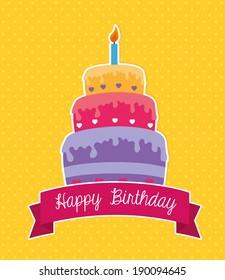 Happy birthday design over yellow background ,vector illustration