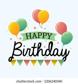 Happy birthday design vector typography with balloons