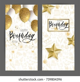 Happy birthday design.White and golden glitter balloons or golden stars and calligraphy on the doodle background. Vector illustration