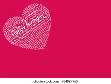 Happy Birthday In Different Languages Wordcloud Heart Shape Greeting Card