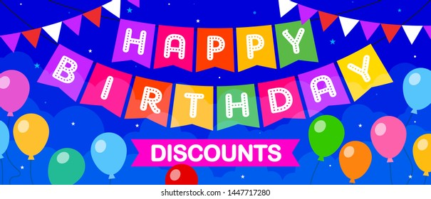Happy Birthday Discount Card Concept, Sale, Offer, Greeting, Coupon, Template, Banner, Logo Design, Icon, Poster, Offer, Label, Web Header, Mnemonic with party balloons in background-Vector