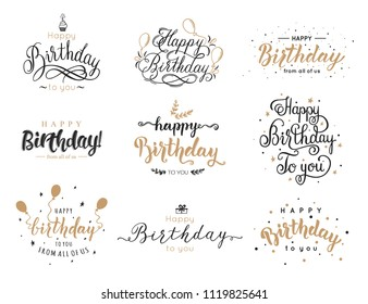 Happy birthday elegant brush script inscription collection with birthday candle, cake, balloon. Lettering design for greeting card, vector illustration.