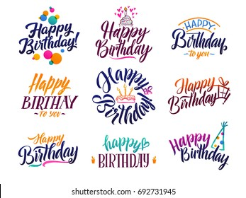 Happy birthday elegant brush script text. Vector type with hand drawn letters