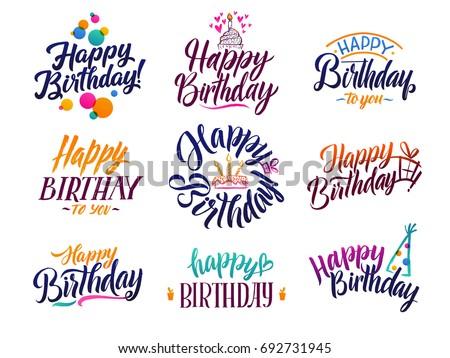 Happy Birthday Elegant Brush Script Text Stock Vector Royalty Free