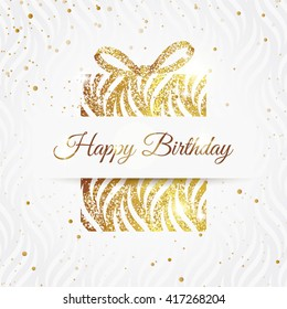 Happy birthday elegant card with golden gift and  bow. Birthday gold greeting card. Vector illustration