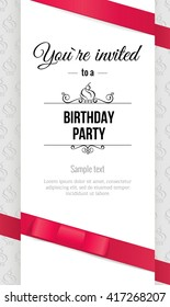 Happy birthday elegant invitation card with red bow and ribbons. Birthday  greeting card. Vector illustration