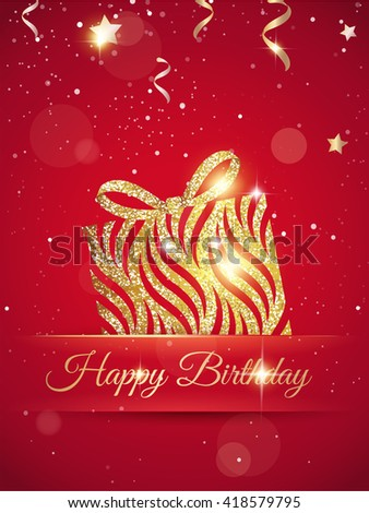 Happy Birthday Elegant Red Card Gift Image Vectorielle De Stock