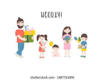 Happy birthday. Family congratulates the child and gives him a gift. Vector flat design illustration.