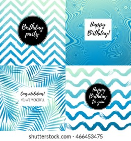 Happy Birthday fashion typography posters, greeting cards, invitation set in gradient blue, black and white. Vector summer background with tropical palm tree leaves, strips, waves.