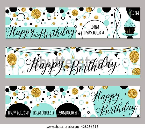 金色の輝きを持つ 誕生日祝いの水平のバナーセット 風船 日付の誕生を祝うための文字イラストを描いたベクター手書きの手書き のベクター画像素材 ロイヤリティフリー
