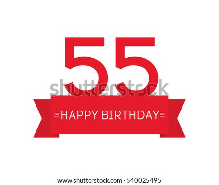 happy birthday to fifty-five year, label sign icon, ribbon element, greeting efc878b12e