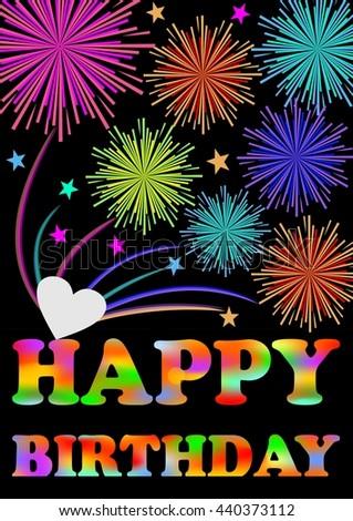 Happy Birthday Firework Colorful Birthday Greeting Stock Vector