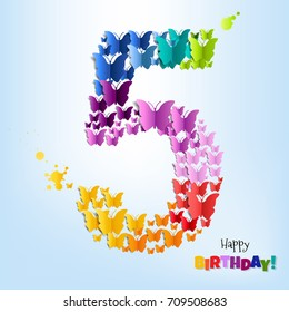 Happy Birthday Five Years Postcard Gradient Mesh, Vector Illustration