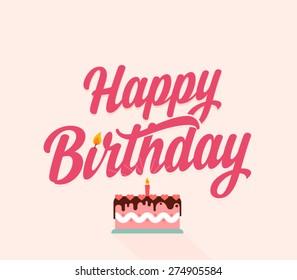 Happy birthday flat typographic card