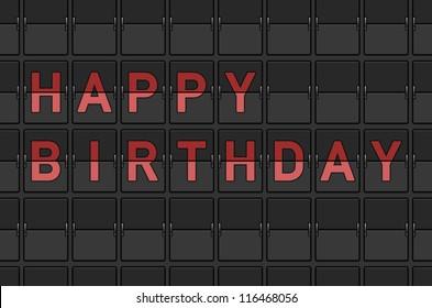 Happy Birthday Flip Board - Celebration decoration vector illustration on black background