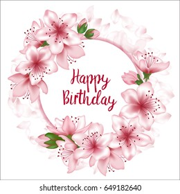Happy Birthday flowers greeting card template, round frame, text, tree blossom branches and flying petals vector illustration. Holiday circle border, birthday banner, poster with cherry flower wreath